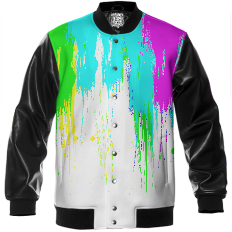 NEON DRIPPING PAINT VARSITY JACKET