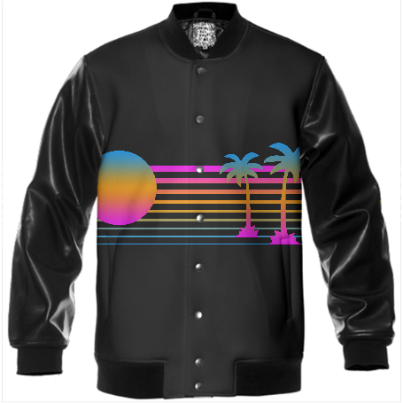 NEON PALM TREES VARSITY JACKET