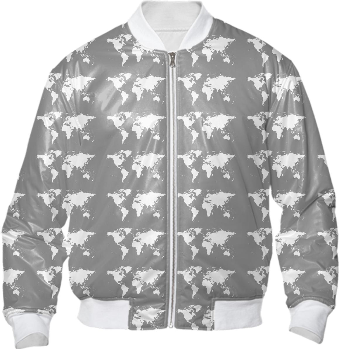 World map pattern bomber jacket bomber jacket gumiabroncs Choice Image