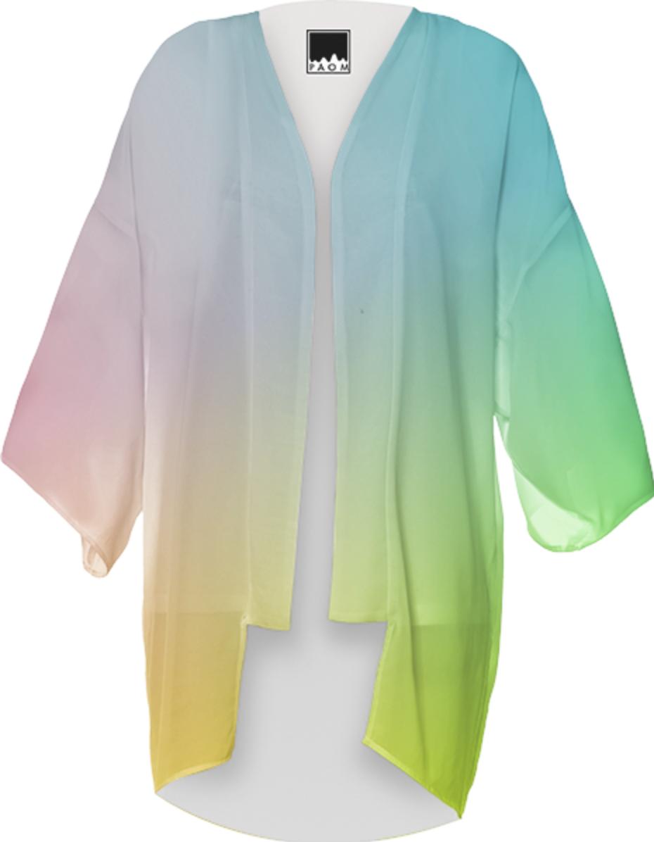 Shop Trendy Ombre Pastel Pink Blue Yellow Color Mix Kimono Loose ...