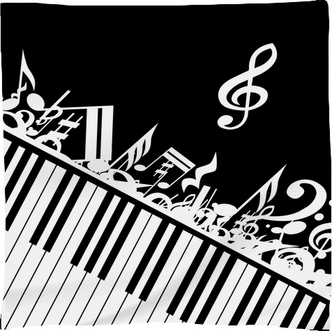 Shop Stylish designer piano and music notes in classic ...