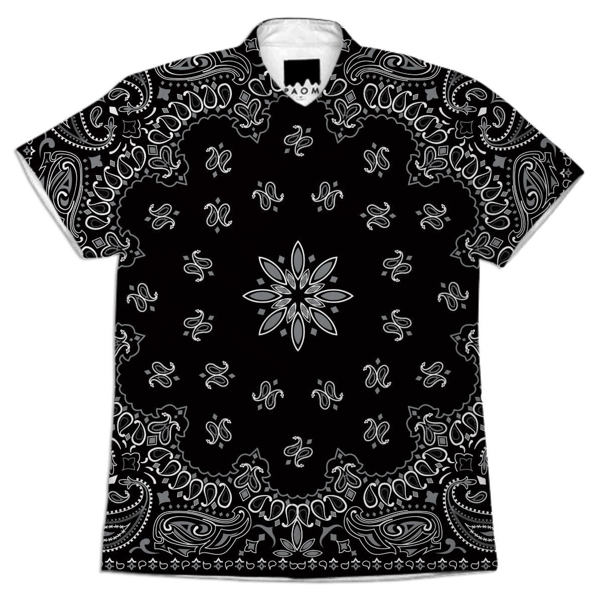 Shop evil robot hustler original gangster black paisley for Black and white short sleeve shirts