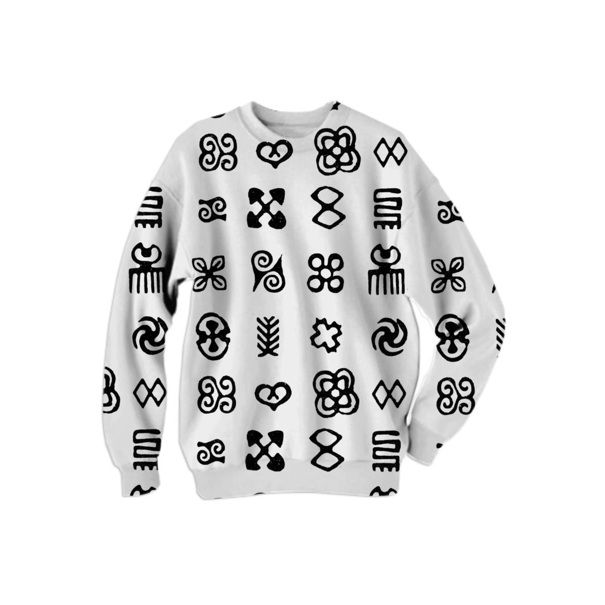 Shop Adinkra West African Symbols Cotton Sweatshirt By