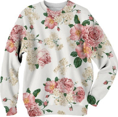 Shop FLORAL CREWNECK Cotton Sweatshirt by zezka | Print All Over Me