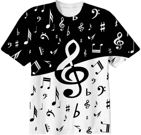 Shop Black And White Music Notes Cotton T Shirt By Gbc
