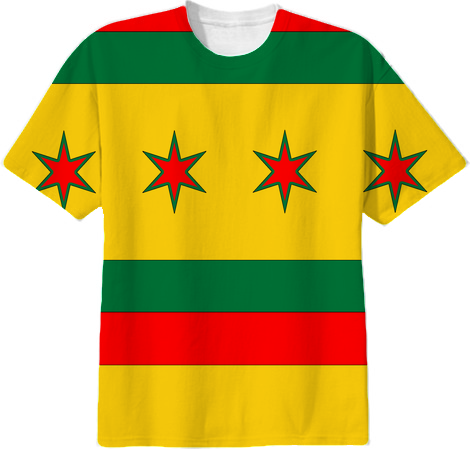 Shop rasta colors chicago flag cotton t shirt by for Cheap t shirt printing chicago